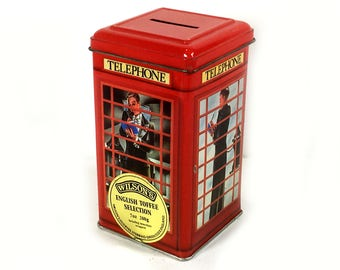 Vintage Tin Bank - London Phone Booth, British Red Telephone Booth, Telephone Kiosk, Money Box, Man in Tuxedo