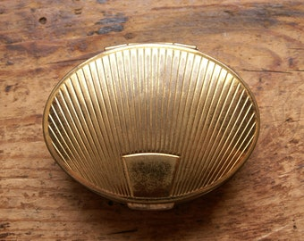 Vintage Volupte Gold Powder Compact - Oval Shell Shaped Makeup Case