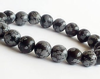 8mm Snowflake Obsidian Bracelet, Obsidian Mens Beaded Bracelet, Obsidian Jewelry Bracelet, Gemstone Stretch Bracelet, Womens Bracelets