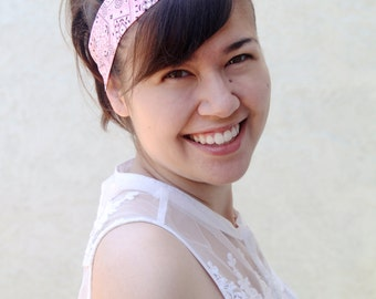 Pink Bandana Dolly Bow, Wire Headband, Flexible Twist Headband, Usamimi, Rabbit Ears