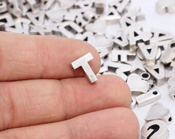 Antique Silver initial Tiny Pendant ( 8x10mm) - Upper Case - Capital Letter - Letter T