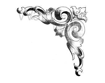 Clip art black and white - vintage image of corner style retro - graphic ornament scrapbooking