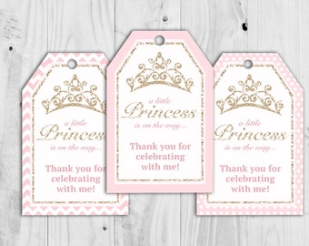 Printable Princess Baby Shower Pink Favour Tags, Favor Tags, It's a Girl, Girl, Thank You, Baby Shower Printable.  INSTANT DOWNLOAD