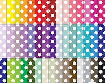 Digital Paper - Polka Dots - Rainbow  45 Sheets Scrapbooking Instant Download & Printable G7211