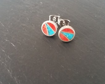 Coral and Turquoise Sterling Silver Stud Earrings