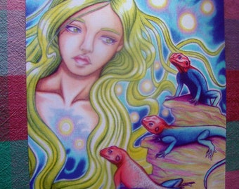 Art Poster, Colored Pencil Lizard Fantasy Art