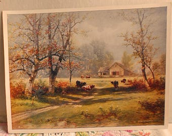 1909 COUNTRY DAIRY FARM Litho Print Grazing Cows in Field Trees Dirt Lane Distant Barn, Peaceful Pastoral Scene, E C Reese 6 x 8 to Frame