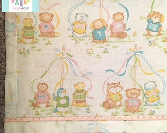 Vintage Otter and Racoon Baby Blanket