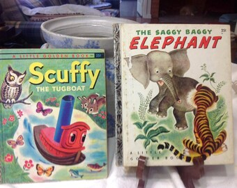 Vintage The Saggy Baggy Elephant, 1947 Little Golden Book & Scuffy The Tugboat 1955 Book Bundle - 2 Books