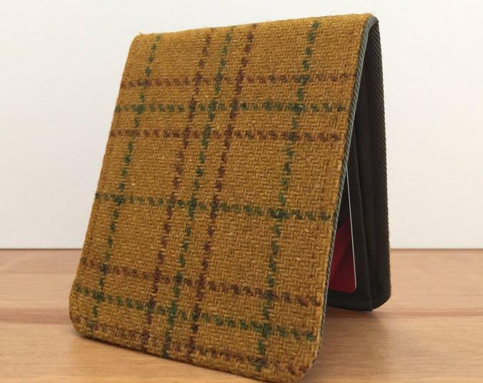 Featured listing image: Mens Slim Bifold Wallet / Minimalist Wallet / Vintage Brown Plaid Wool