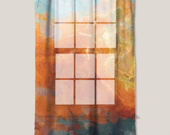 "Sheer Curtain with Abstract Art in orange, yellow and teal, 50""x84"" sheer drapery panel, contemporary rod pocket curtain, Electric"