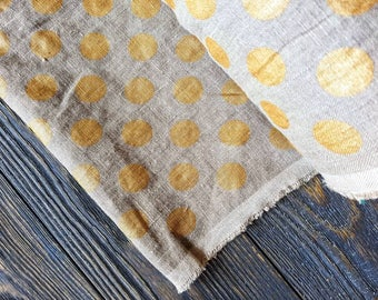 Washed beige golden dots linen fabric by the meter, organic flax fabric, undyed softened stone washed polka dot linen fabric by the yard