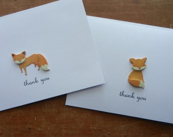Fox Card - Set of 10 Fox Thank You Note Handmade Greeting cards with 3-D red fox embellishment