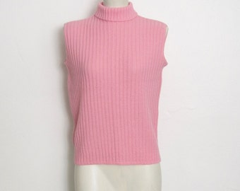 1960s Shell Sweater / Pink Ribbed Acrylic Knit Pullover / Vintage 60s Penney's Sleeveless Sweater w/ Turtleneck