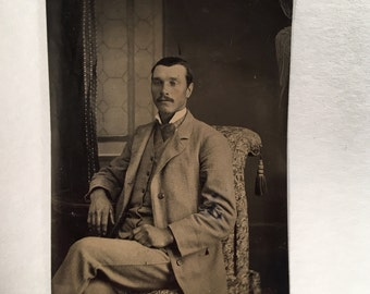Handsome Tintype of a Mustached Man, 19th Century Antique Photo, Tintype Photograph
