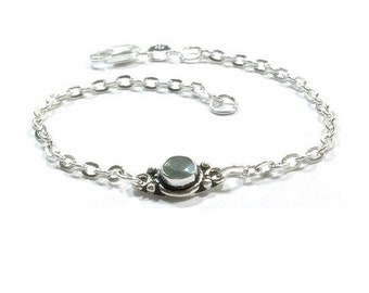 Sterling Silver  Genuine  Labradorite  Bracelet  , Gift For Her