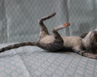 Needle Felted Cat Playing