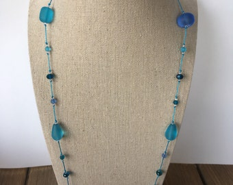 Seaglass style beaded necklace