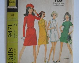 Vintage 60s Dress, Mod A Line Dress, Front Yoke Dress, Sewing Pattern McCalls 9471 Size 14 Bust 36 UNCUT