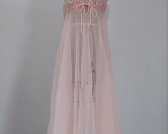 Frederick's Peachy Pink Chiffon Night Gown | Vintage 60's 70's