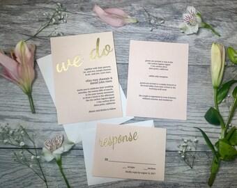Blush We Do Wedding Invitations // Custom Wedding Invitations // Handmade Wedding Invitations // Gold Embossed Wedding Invitations