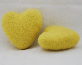 100% Wool Felt Heart - 2 Count - 6cm - Yellow