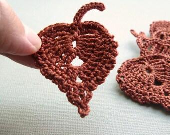 8 Crochet Leaf Appliques -- Rust Birch Leaves