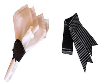 Black Napkin Wraps, Wedding Napkin Wraps, Pleats Ribbon Design - PACK OF 20