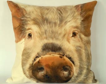 Pig Cushion Cover, pig pillow, farmyard faces, farmyard animals, farm life, rural life, country life, pig snout and trotters, organic cotton