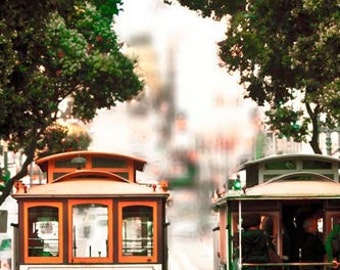 San Francisco Art Cable Car Print, Beige, Brown, Green, California Print, San Francisco Photography
