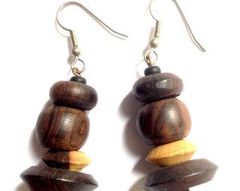 Women earrings, dangle earrings, jewelry, ethnic earrings, handmade jewelry African ebony wood