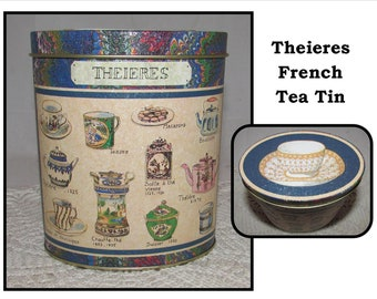 Vintage French Tea Tin by Theieres, Oval shape, kitchen storage container