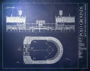 POLO GROUNDS Blueprint - New York Yankees/ New York Mets/ New York Giants - Vintage Baseball Poster