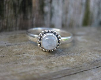 dainty beaded rainbow moonstone mystical MAGICK MOON RING sterling silver