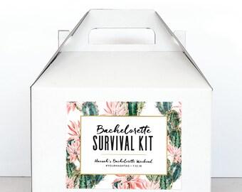 Bachelorette Party Survival Kit Boxes - Hangover Survival Kit - Palm Springs Bachelorette Gable Boxes - Cactus Bachelorette Party Decoration
