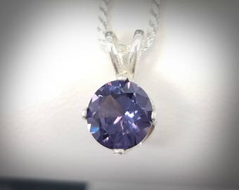 Alexandrite Necklace Silver Pendant Lab Created Color Change Jewelry 1.8 CTW June Birthstone Birthday Bridal Wedding Anniversary Gift P32N