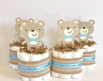 Teddy Bear Mini Diaper Cakes. Boy Baby Shower. Baby Shower Decorations. Teddy Bear Baby Shower. Blue Baby Shower. Teddy Bear Party.