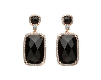 Rose gold plated drop earrings with embellished black stones