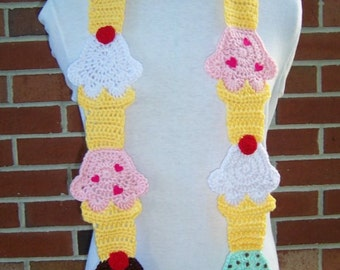 CROCHET Ice Cream Cone Scarf PATTERN
