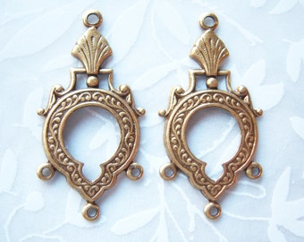 Antiqued brass chandelier earring stampings with three rings, lot of (2) -  SK100