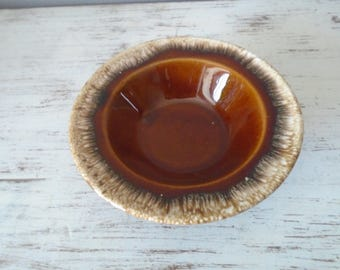 Vintage classic Hulls Brown brown drip Cretone round bowl, oven proof, cereal or ice cream bowl