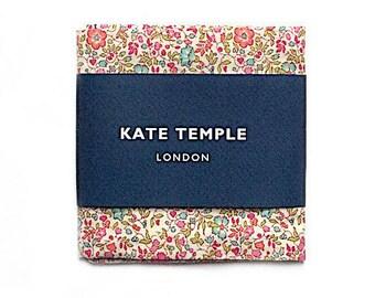 NEW Liberty pink pocket square, floral pocket square, wedding pocket square, groom, turquoise pink handkerchief, rose flower pocket square