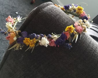 Pink, purple yellow dried flower crown