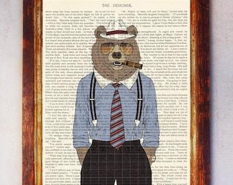 Old Business Male Bear Art Print, Bear Wall Art, Book Art Bear Print, Animal Print, Bear Artwork, Bear Poster, Bear Digital Print