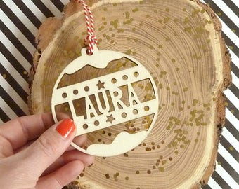 Customized Christmas Name Baubles Personalised lasercut from Wood