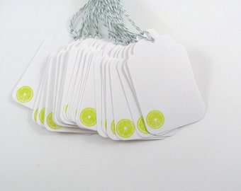 Lime Slice Stamped White Gift Tags with Green and White Bakers Twine