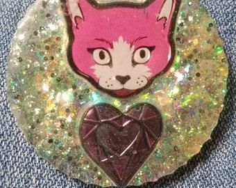 Iridescent Kittie Pin
