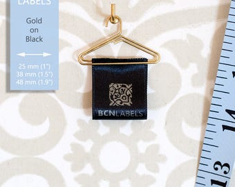 GOLD ON BLACK 50 pcs Custom Printed Soft Satin Clothing Labels / Care Labels / Sew in Fabric Labels