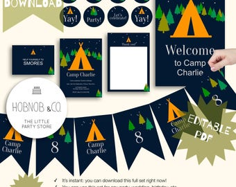 Campout party kit editable instant download printable