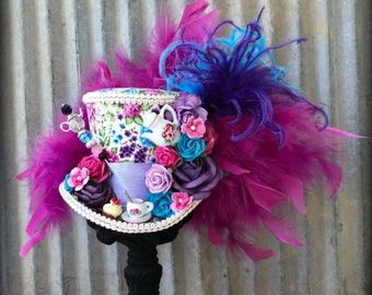 Mini Top Hat, Rose Tea Cup hat, Purple and Hot PInk Tea Pot Alice in Wonderland, Mad Hatter Hat, Mad Hatter Tea Party, Pink roses Tea Hat